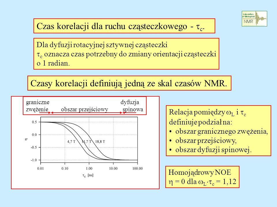 Czas korelacji dla ruchu cząsteczkowego - c. Dla dyfuzji rotacyjnej sztywnej cząsteczki c oznacza czas potrzebny do zmiany orientacji cząsteczki o 1 r