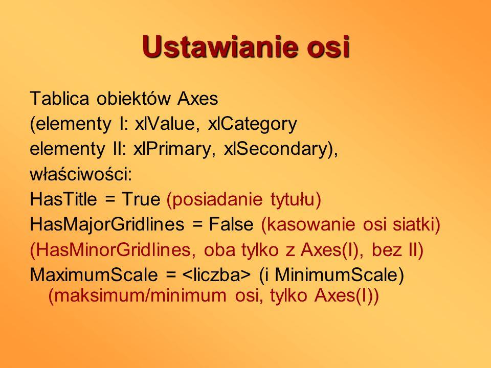 Ustawianie osi Tablica obiektów Axes (elementy I: xlValue, xlCategory elementy II: xlPrimary, xlSecondary), właściwości: HasTitle = True (posiadanie t