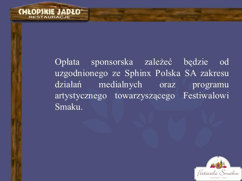 Opłata sponsorska zależeć będzie od uzgodnionego ze Sphinx Polska SA zakresu działań medialnych oraz programu artystycznego towarzyszącego Festiwalowi