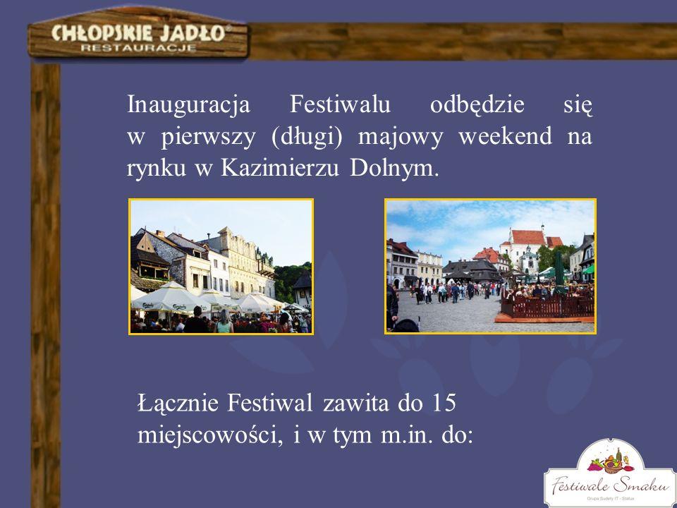 Inauguracja Festiwalu odbędzie się w pierwszy (długi) majowy weekend na rynku w Kazimierzu Dolnym. Łącznie Festiwal zawita do 15 miejscowości, i w tym