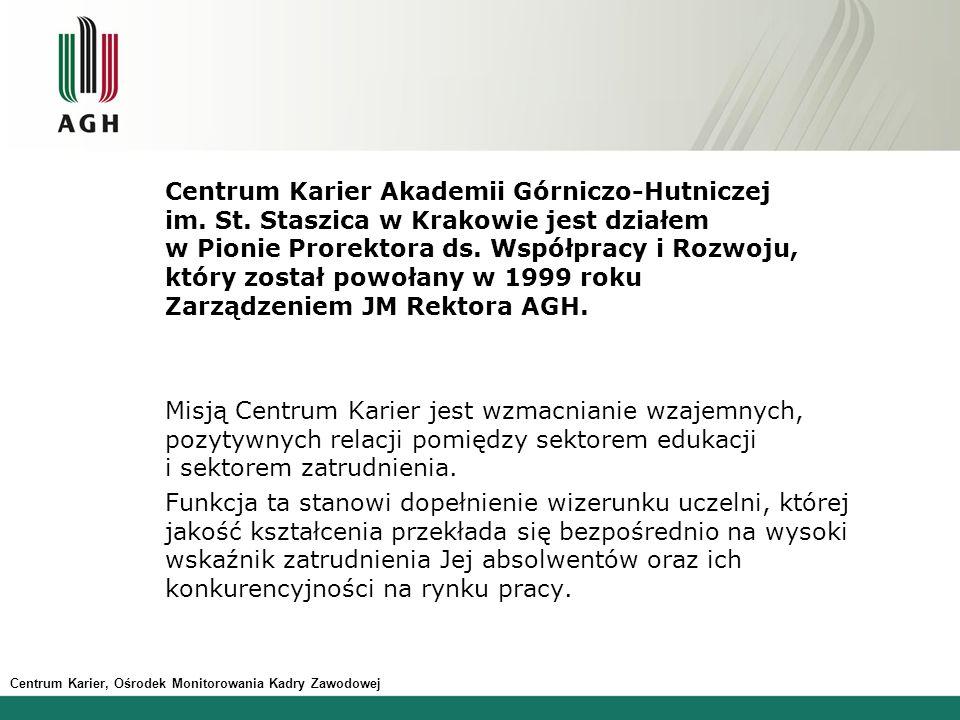 Centrum Karier Akademii Górniczo-Hutniczej im. St. Staszica w Krakowie jest działem w Pionie Prorektora ds. Współpracy i Rozwoju, który został powołan