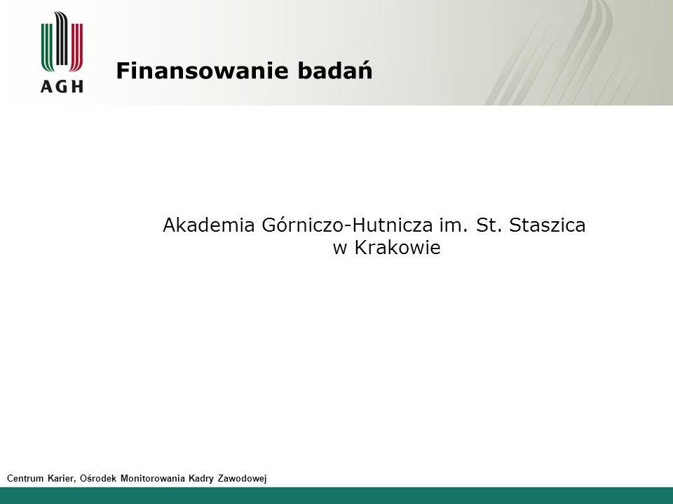 Centrum Karier, Ośrodek Monitorowania Kadry Zawodowej Finansowanie badań Akademia Górniczo-Hutnicza im. St. Staszica w Krakowie