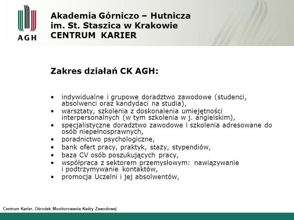 Centrum Karier, Ośrodek Monitorowania Kadry Zawodowej Akademia Górniczo – Hutnicza im.