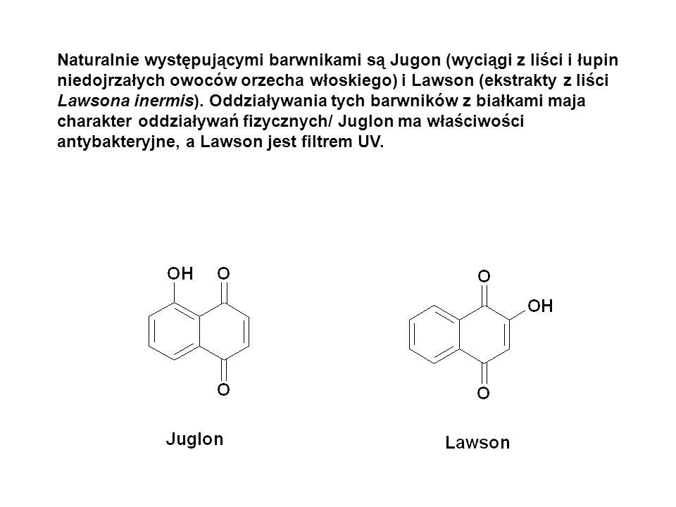 Naturalnie występującymi barwnikami są Jugon (wyciągi z liści i łupin niedojrzałych owoców orzecha włoskiego) i Lawson (ekstrakty z liści Lawsona iner