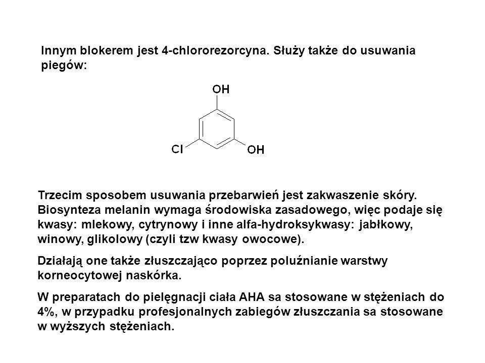 Innym blokerem jest 4-chlororezorcyna. Służy także do usuwania piegów: Trzecim sposobem usuwania przebarwień jest zakwaszenie skóry. Biosynteza melani