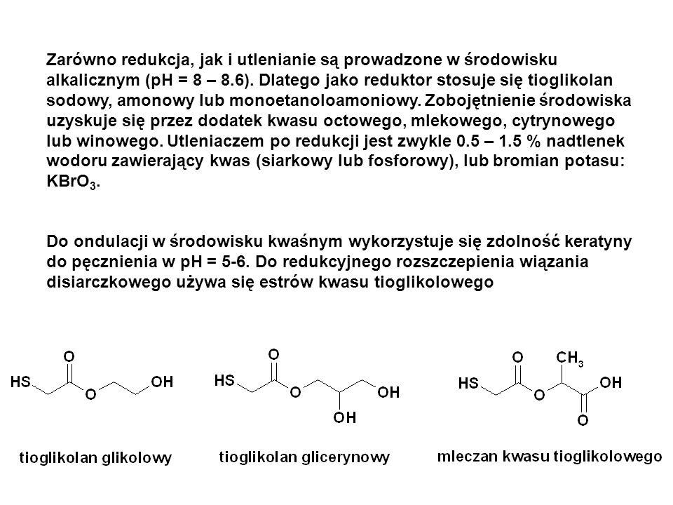 Zarówno redukcja, jak i utlenianie są prowadzone w środowisku alkalicznym (pH = 8 – 8.6). Dlatego jako reduktor stosuje się tioglikolan sodowy, amonow