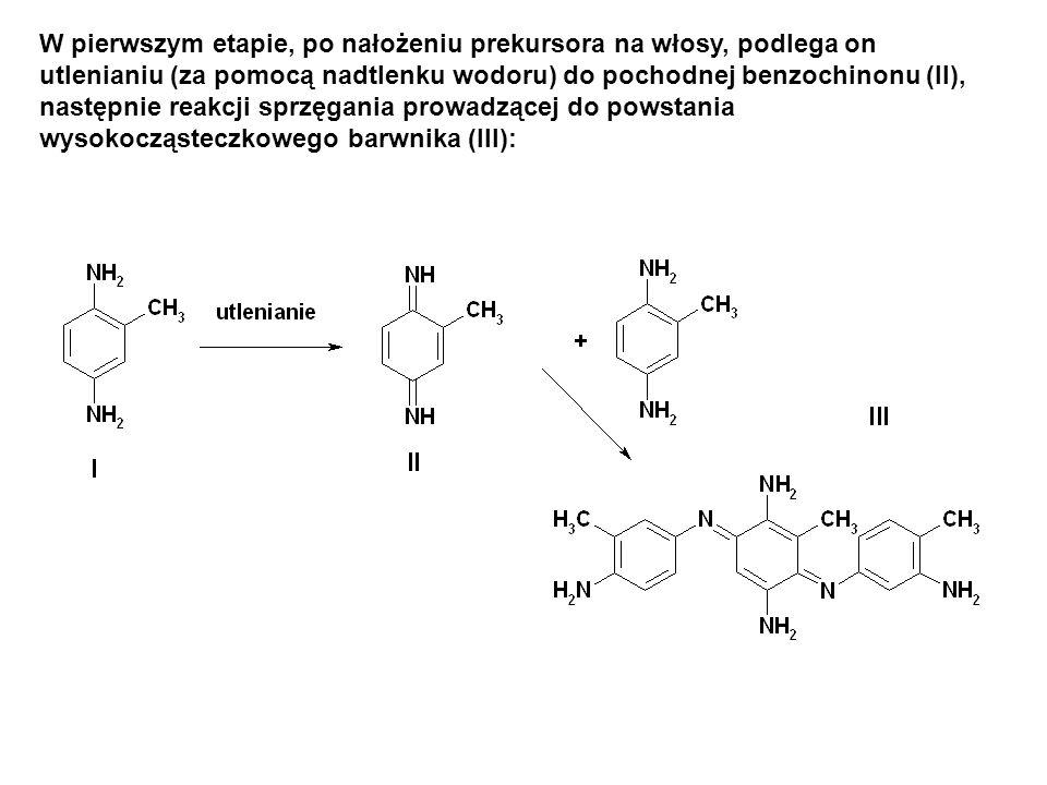 W pierwszym etapie, po nałożeniu prekursora na włosy, podlega on utlenianiu (za pomocą nadtlenku wodoru) do pochodnej benzochinonu (II), następnie rea