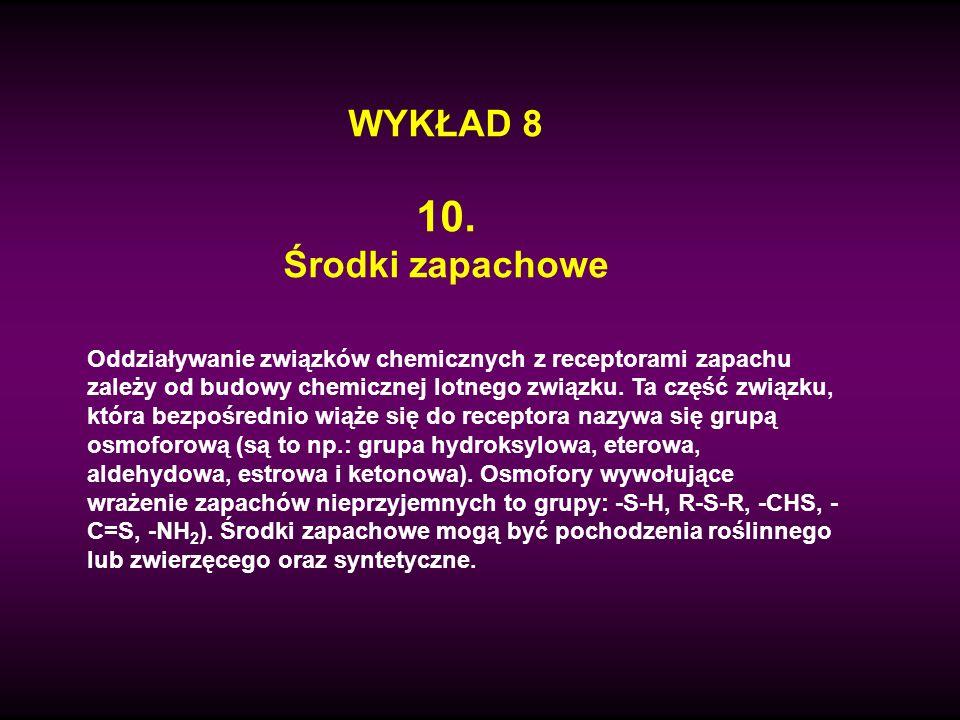 Estry kwasu cynamonowego z alkoholem benzylowym i cynamonowym (CCXVIII a i b) mają balsamiczne zapachy (występują w żywicach), a cynamonian metylowy (CCXVIII c) ma zapach poziomkowy.