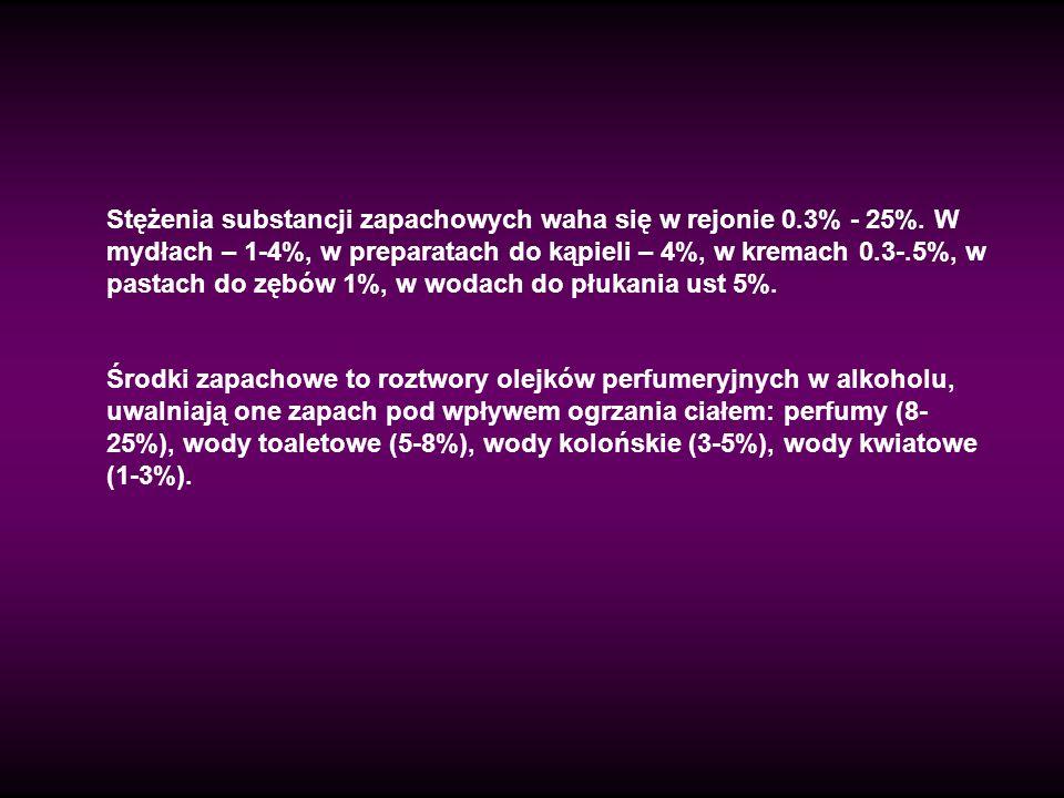 Stężenia substancji zapachowych waha się w rejonie 0.3% - 25%. W mydłach – 1-4%, w preparatach do kąpieli – 4%, w kremach 0.3-.5%, w pastach do zębów