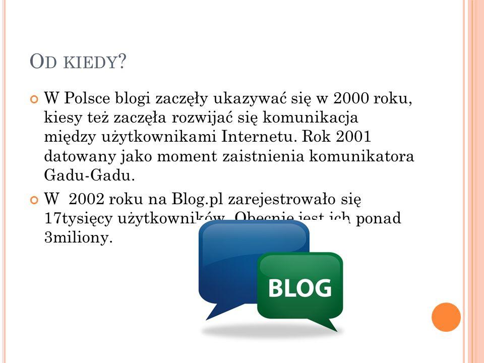 O D KIEDY ? W Polsce blogi zaczęły ukazywać się w 2000 roku, kiesy też zaczęła rozwijać się komunikacja między użytkownikami Internetu. Rok 2001 datow