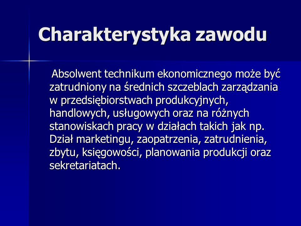 Charakterystyka zawodu Absolwent technikum ekonomicznego może być zatrudniony na średnich szczeblach zarządzania w przedsiębiorstwach produkcyjnych, h