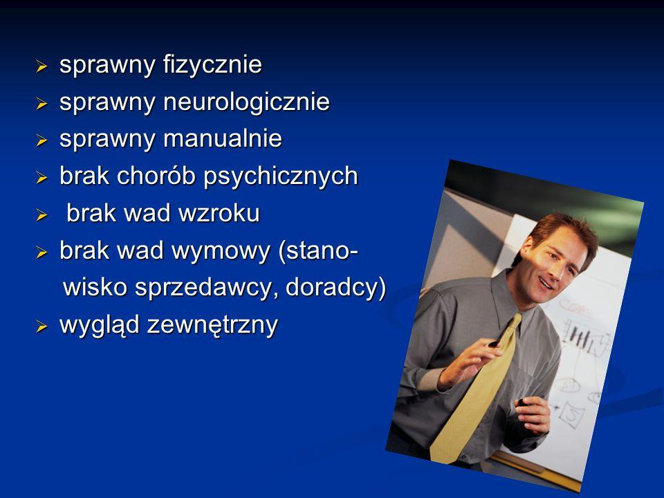 sprawny fizycznie sprawny fizycznie sprawny neurologicznie sprawny neurologicznie sprawny manualnie sprawny manualnie brak chorób psychicznych brak chorób psychicznych brak wad wzroku brak wad wzroku brak wad wymowy (stano- brak wad wymowy (stano- wisko sprzedawcy, doradcy) wisko sprzedawcy, doradcy) wygląd zewnętrzny wygląd zewnętrzny