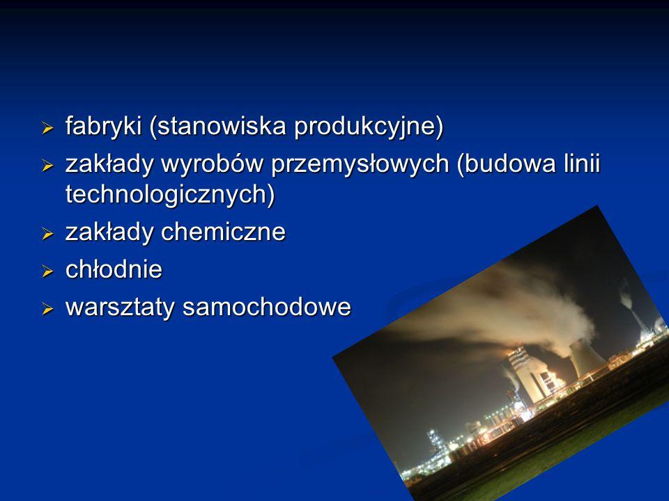 fabryki (stanowiska produkcyjne) fabryki (stanowiska produkcyjne) zakłady wyrobów przemysłowych (budowa linii technologicznych) zakłady wyrobów przemysłowych (budowa linii technologicznych) zakłady chemiczne zakłady chemiczne chłodnie chłodnie warsztaty samochodowe warsztaty samochodowe