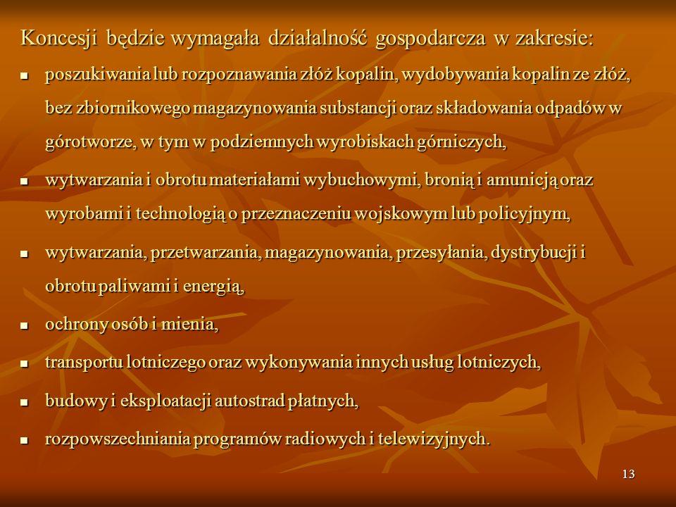 12 O wprowadzeniu koncesji na dany rodzaj działalności gospodarczej w Polsce decyduje Rada Ministrów. Ustawa z dnia 19 listopada 1999 r. - Prawo dział