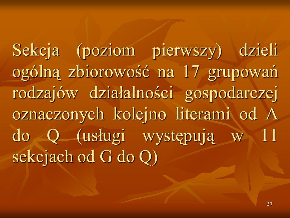 26 Działalność PKD obejmuje gospodarkę narodową. Struktura Polskiej PKD ustala: symbole, symbole, nazwy, nazwy, Zakres, Zakres, poszczególnych grupowa