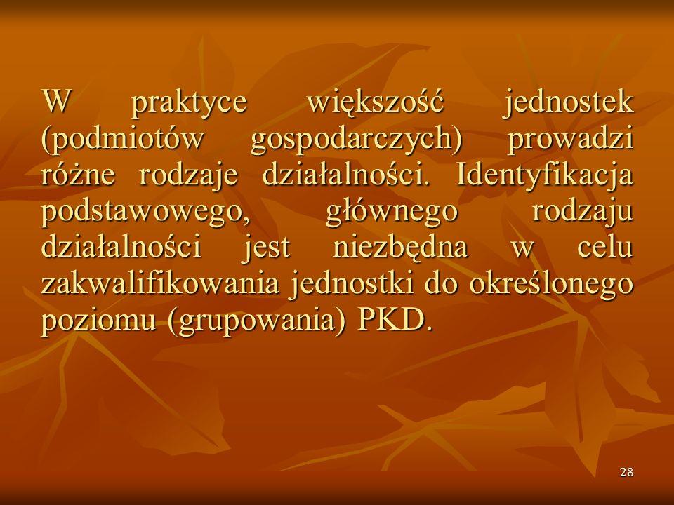 27 Sekcja (poziom pierwszy) dzieli ogólną zbiorowość na 17 grupowań rodzajów działalności gospodarczej oznaczonych kolejno literami od A do Q (usługi