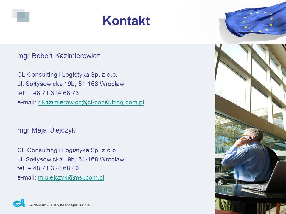 Kontakt mgr Robert Kazimierowicz CL Consulting i Logistyka Sp. z o.o. ul. Sołtysowicka 19b, 51-168 Wrocław tel: + 48 71 324 68 73 e-mail: r.kazimierow