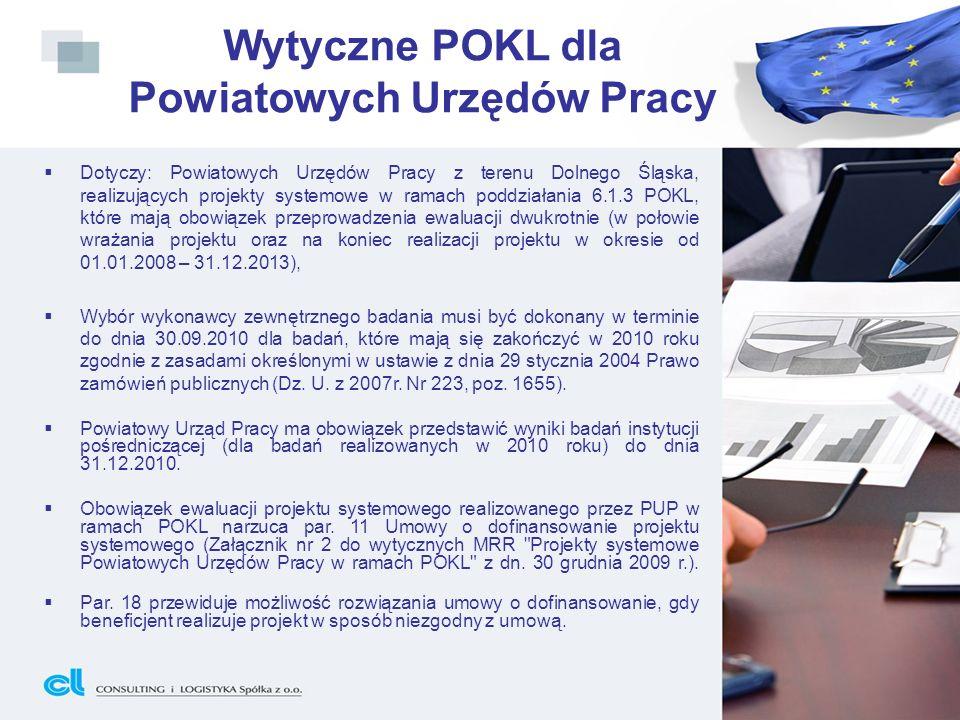 Wytyczne POKL dla Powiatowych Urzędów Pracy Dotyczy: Powiatowych Urzędów Pracy z terenu Dolnego Śląska, realizujących projekty systemowe w ramach podd