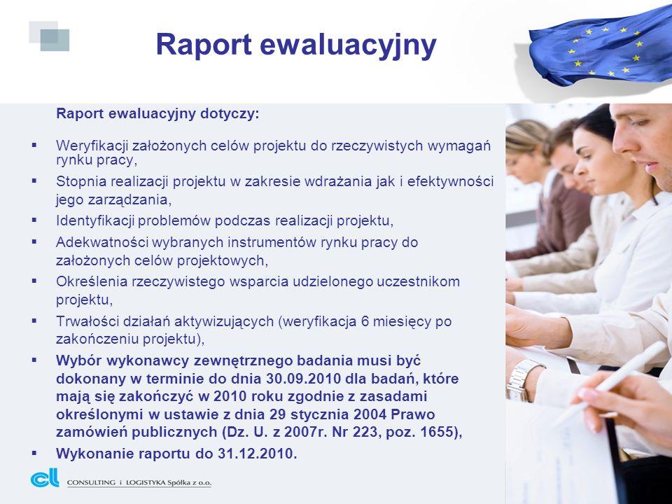 Raport ewaluacyjny Raport ewaluacyjny dotyczy: Weryfikacji założonych celów projektu do rzeczywistych wymagań rynku pracy, Stopnia realizacji projektu