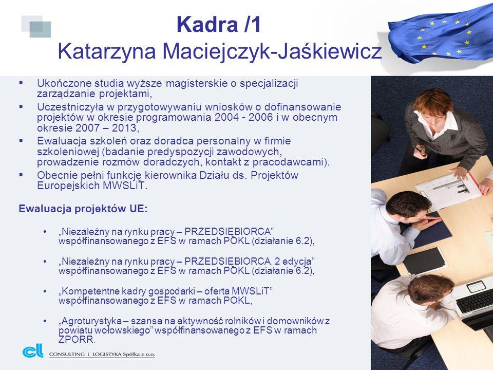 Kadra /2 Małgorzata Ważna Ukończone studia podyplomowe o kierunku Zarządzanie i rozliczanie projektów realizowanych w ramach dotacji unijnych, Pracowała jako specjalista ds.