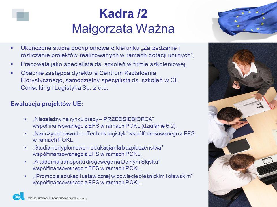 Kadra /2 Małgorzata Ważna Ukończone studia podyplomowe o kierunku Zarządzanie i rozliczanie projektów realizowanych w ramach dotacji unijnych, Pracowa