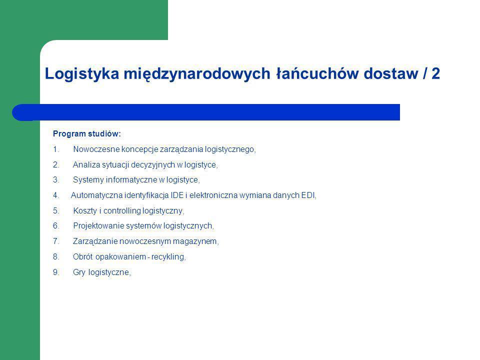 Logistyka międzynarodowych łańcuchów dostaw / 2 Program studiów: 1. Nowoczesne koncepcje zarządzania logistycznego, 2. Analiza sytuacji decyzyjnych w