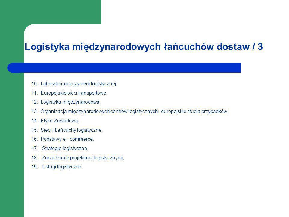 Logistyka międzynarodowych łańcuchów dostaw / 3 10. Laboratorium inżynierii logistycznej, 11. Europejskie sieci transportowe, 12. Logistyka międzynaro