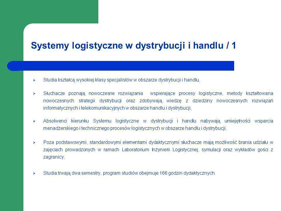 Systemy logistyczne w dystrybucji i handlu / 1 Studia kształcą wysokiej klasy specjalistów w obszarze dystrybucji i handlu, Słuchacze poznają nowoczes