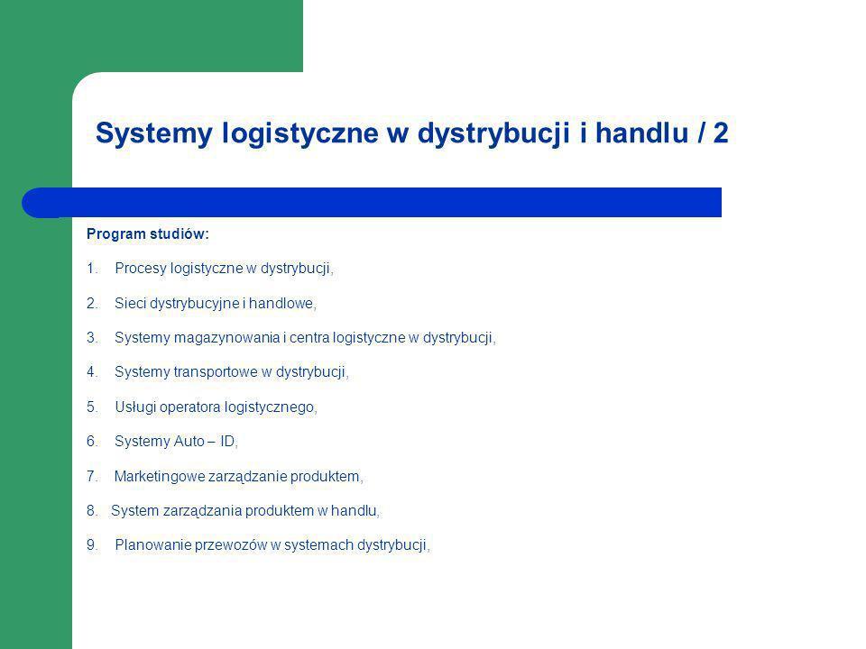 Systemy logistyczne w dystrybucji i handlu / 2 Program studiów: 1. Procesy logistyczne w dystrybucji, 2. Sieci dystrybucyjne i handlowe, 3. Systemy ma