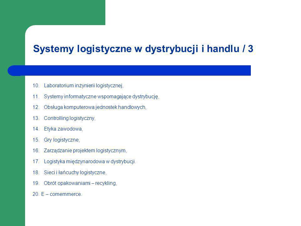 Systemy logistyczne w dystrybucji i handlu / 3 10. Laboratorium inżynierii logistycznej, 11. Systemy informatyczne wspomagające dystrybucję, 12. Obsłu