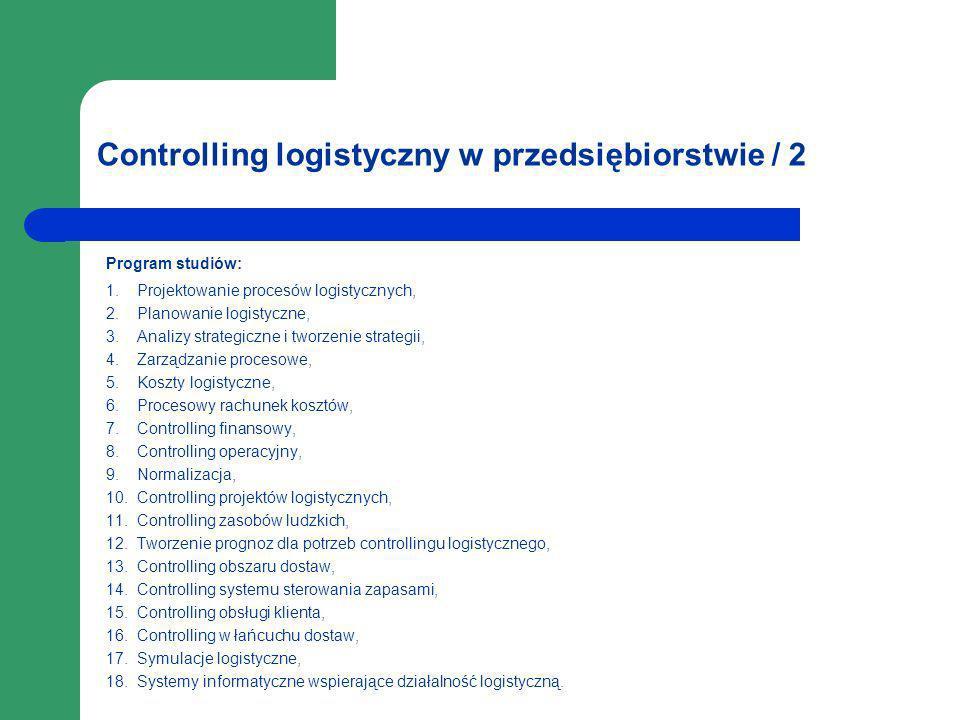 Controlling logistyczny w przedsiębiorstwie / 2 Program studiów: 1. Projektowanie procesów logistycznych, 2. Planowanie logistyczne, 3. Analizy strate