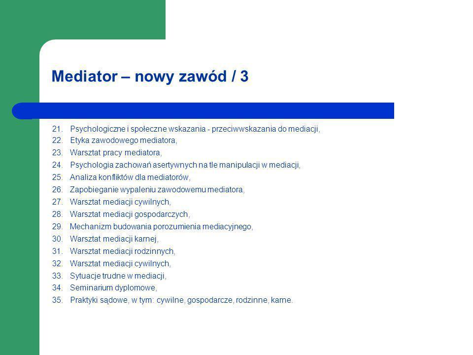 Mediator – nowy zawód / 3 21. Psychologiczne i społeczne wskazania - przeciwwskazania do mediacji, 22. Etyka zawodowego mediatora, 23. Warsztat pracy