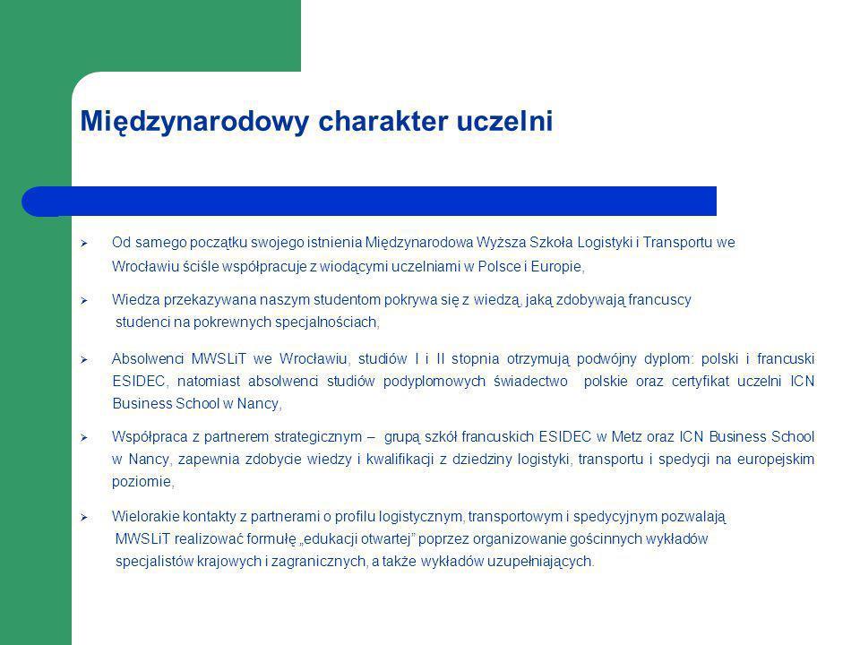 Międzynarodowy charakter uczelni Od samego początku swojego istnienia Międzynarodowa Wyższa Szkoła Logistyki i Transportu we Wrocławiu ściśle współpra