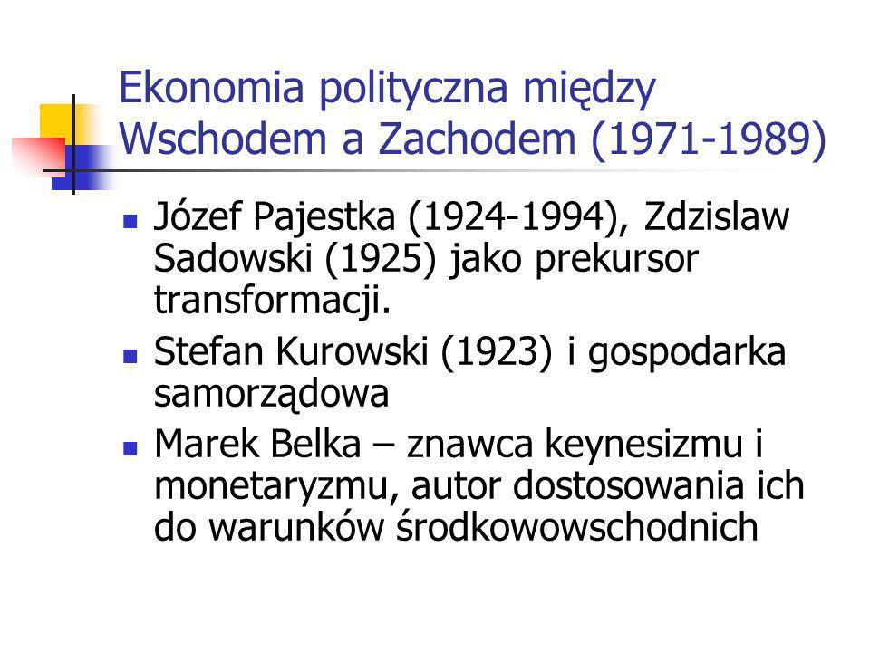 Próby reformy ekonomii marksistowskiej (1956-1970) Ośrodek poznański – powrót do pracy E. Taylora, debiut Wacława Wilczyńskiego. Powrót do działalnośc