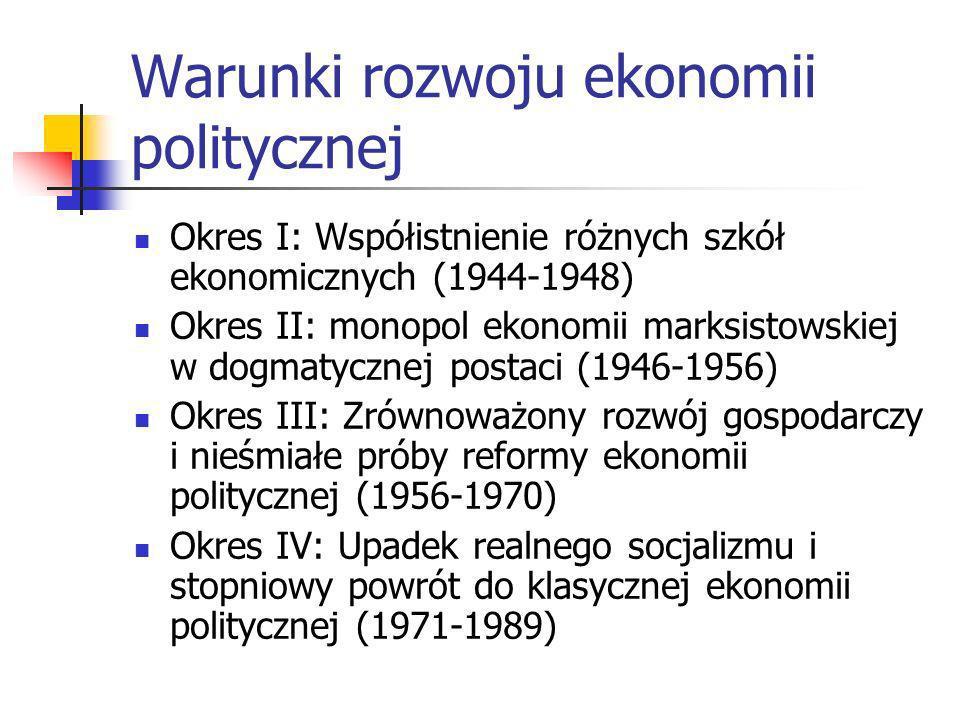 Warunki rozwoju Polska w strefie wpływów sowieckich Doktryna socjalizmu nakazowo-rozdzielczego Sytuacja polityczna: pluralizm powojenny, likwidacja od