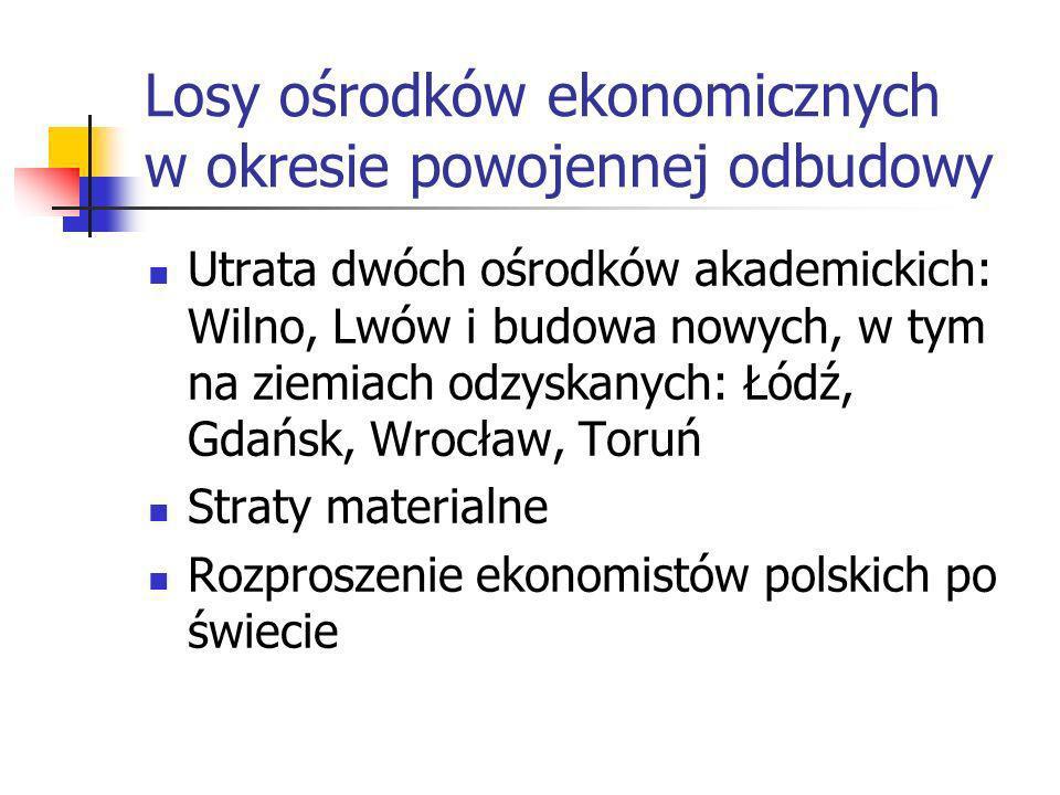 Warunki rozwoju ekonomii politycznej Okres I: Współistnienie różnych szkół ekonomicznych (1944-1948) Okres II: monopol ekonomii marksistowskiej w dogm