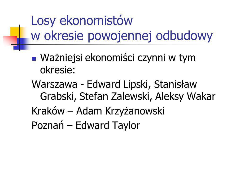 Losy ośrodków ekonomicznych w okresie powojennej odbudowy Utrata dwóch ośrodków akademickich: Wilno, Lwów i budowa nowych, w tym na ziemiach odzyskany