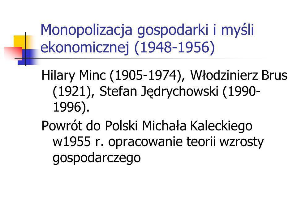 Monopolizacja gospodarki i myśli ekonomicznej (1948-1956) Hilary Minc (1905-1974), Włodzinierz Brus (1921), Stefan Jędrychowski (1990- 1996).