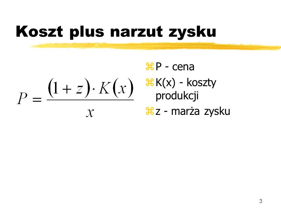 3 Koszt plus narzut zysku z P - cena z K(x) - koszty produkcji z z - marża zysku