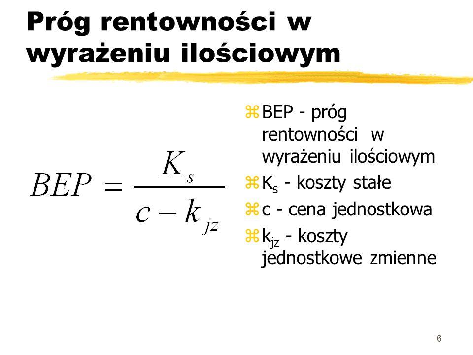 6 Próg rentowności w wyrażeniu ilościowym z BEP - próg rentowności w wyrażeniu ilościowym z K s - koszty stałe z c - cena jednostkowa z k jz - koszty