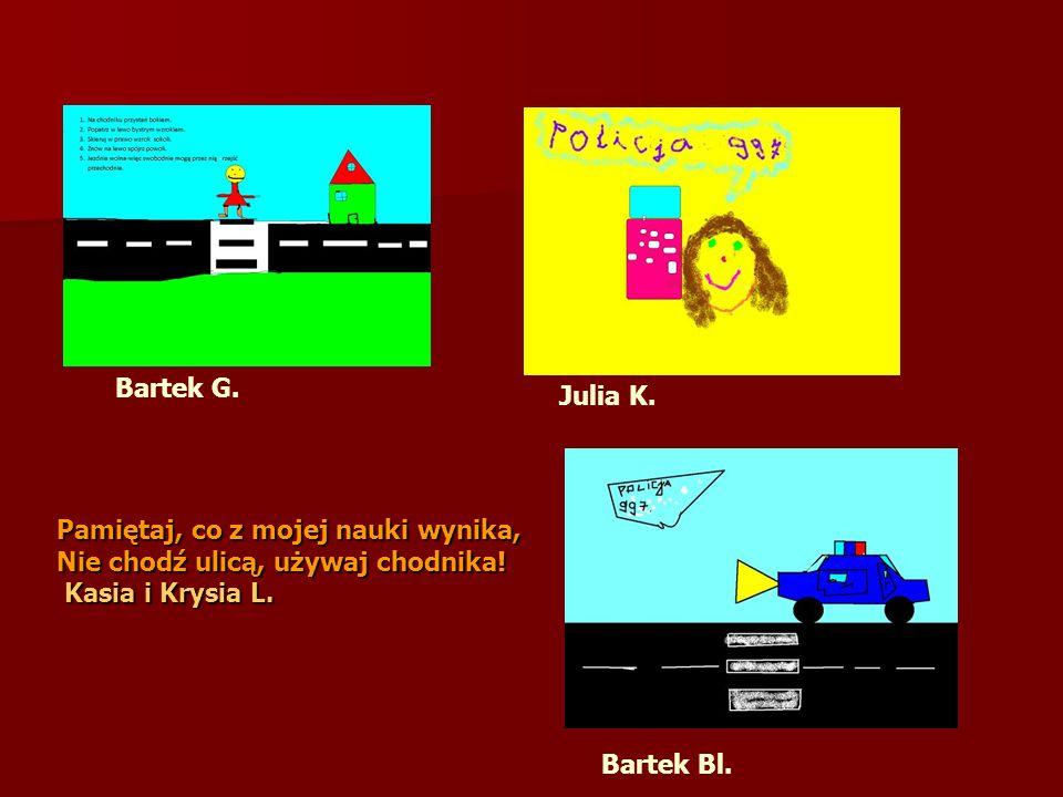 Pamiętaj, co z mojej nauki wynika, Nie chodź ulicą, używaj chodnika! Kasia i Krysia L. Kasia i Krysia L. Bartek G. Julia K. Bartek Bl.