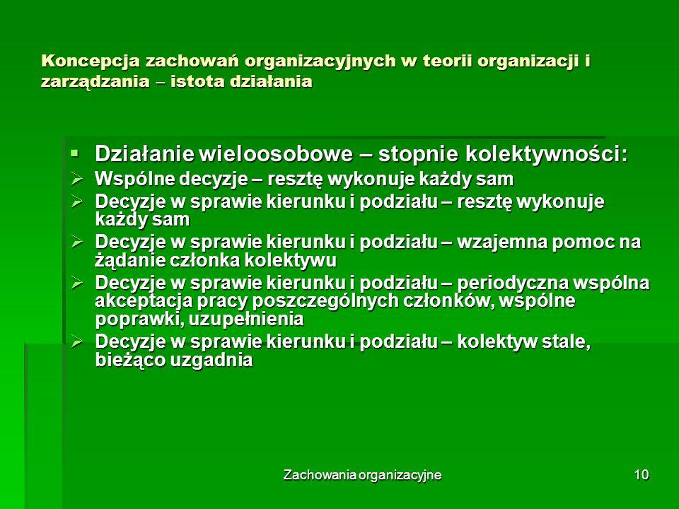 Zachowania organizacyjne10 Koncepcja zachowań organizacyjnych w teorii organizacji i zarządzania – istota działania Działanie wieloosobowe – stopnie k