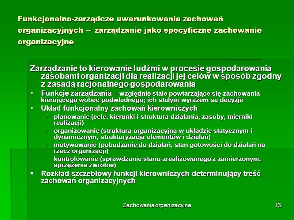 Zachowania organizacyjne13 Funkcjonalno-zarządcze uwarunkowania zachowań organizacyjnych – zarządzanie jako specyficzne zachowanie organizacyjne Zarzą