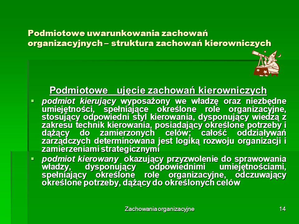 Zachowania organizacyjne14 Podmiotowe uwarunkowania zachowań organizacyjnych – struktura zachowań kierowniczych Podmiotowe ujęcie zachowań kierowniczy