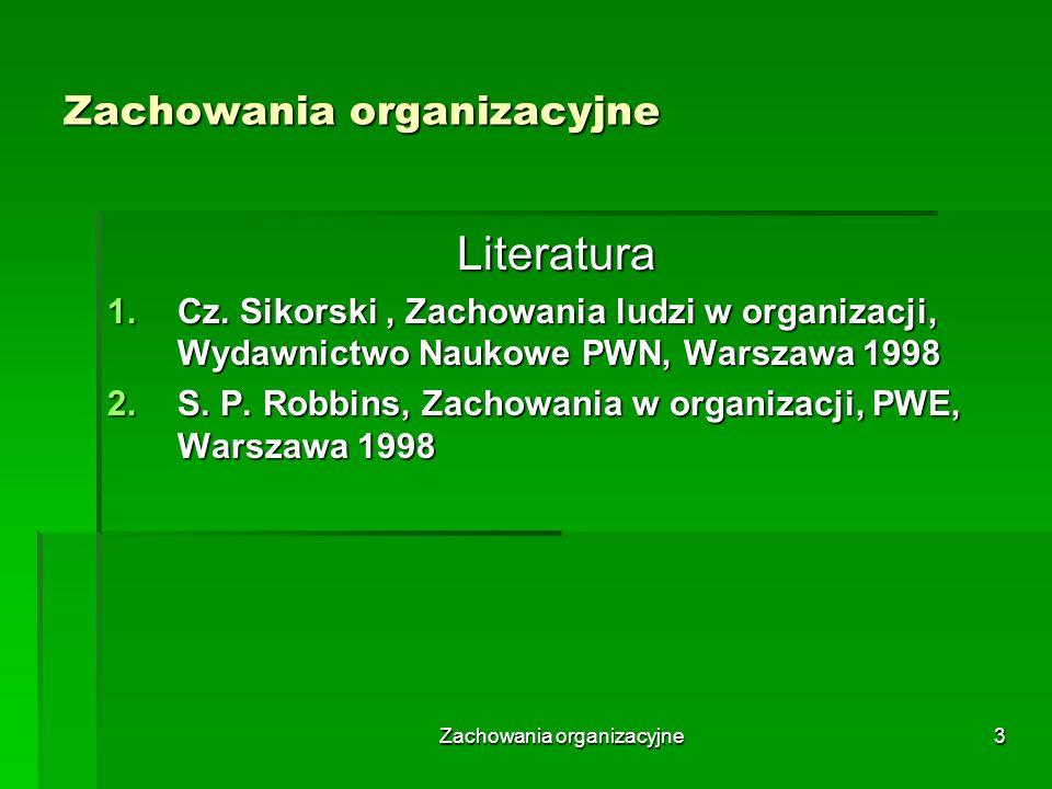 Zachowania organizacyjne14 Podmiotowe uwarunkowania zachowań organizacyjnych – struktura zachowań kierowniczych Podmiotowe ujęcie zachowań kierowniczych podmiot kierujący wyposażony we władzę oraz niezbędne umiejętności, spełniające określone role organizacyjne, stosujący odpowiedni styl kierowania, dysponujący wiedzą z zakresu technik kierowania, posiadający określone potrzeby i dążący do zamierzonych celów; całość oddziaływań zarządczych determinowana jest logiką rozwoju organizacji i zamierzeniami strategicznymi podmiot kierujący wyposażony we władzę oraz niezbędne umiejętności, spełniające określone role organizacyjne, stosujący odpowiedni styl kierowania, dysponujący wiedzą z zakresu technik kierowania, posiadający określone potrzeby i dążący do zamierzonych celów; całość oddziaływań zarządczych determinowana jest logiką rozwoju organizacji i zamierzeniami strategicznymi podmiot kierowany okazujący przyzwolenie do sprawowania władzy, dysponujący odpowiednimi umiejętnościami, spełniający określone role organizacyjne, odczuwający określone potrzeby, dążący do określonych celów podmiot kierowany okazujący przyzwolenie do sprawowania władzy, dysponujący odpowiednimi umiejętnościami, spełniający określone role organizacyjne, odczuwający określone potrzeby, dążący do określonych celów