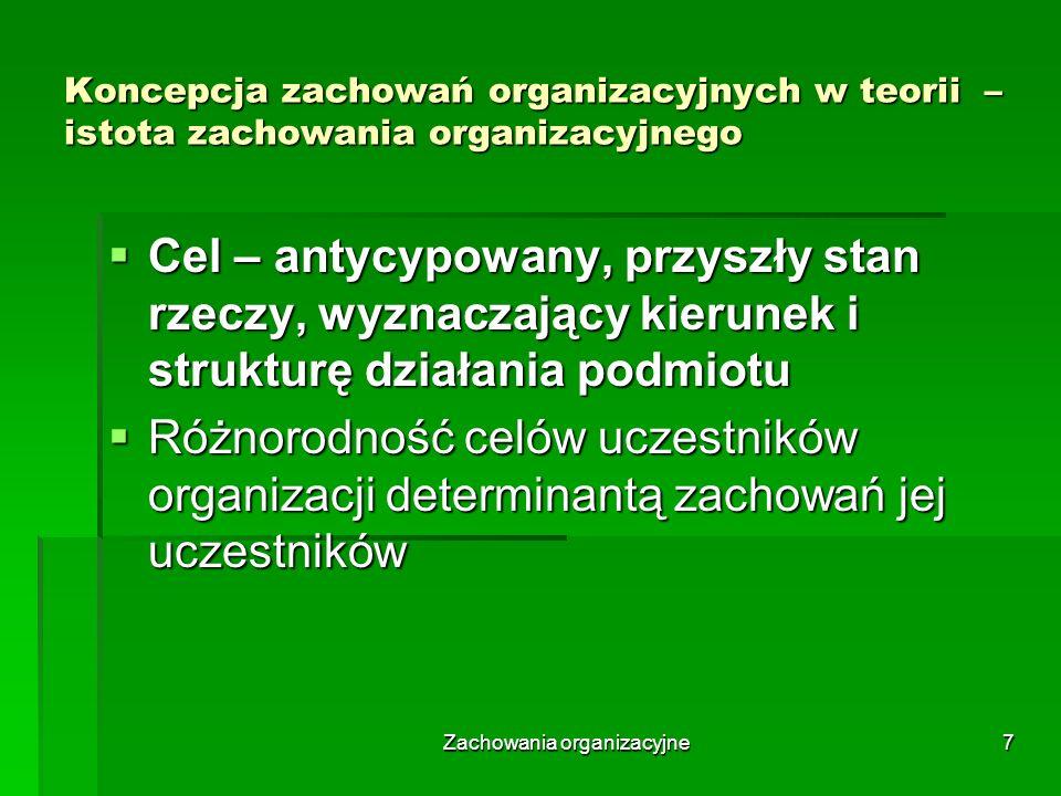 Zachowania organizacyjne8 Koncepcja zachowań organizacyjnych w teorii organizacji i zarządzania – istota działania Działanie to dowolne zachowanie się zmierzające do osiągnięcia celów; może polegać na wykonaniu czegoś lub powstrzymaniu się od czegoś i przysługuje tylko osobnikom obdarzonym świadomością Działanie to dowolne zachowanie się zmierzające do osiągnięcia celów; może polegać na wykonaniu czegoś lub powstrzymaniu się od czegoś i przysługuje tylko osobnikom obdarzonym świadomością Zachowanie się grupy nazywamy jej funkcjonowaniem, wiąże się ono z określonym działaniem jej członków Zachowanie się grupy nazywamy jej funkcjonowaniem, wiąże się ono z określonym działaniem jej członków Każde działanie jest procesem złożonym z poszczególnych fragmentów i najmniejszą niepodzielną cząstka działania jest czyn prosty, czyli ruch elementarny Każde działanie jest procesem złożonym z poszczególnych fragmentów i najmniejszą niepodzielną cząstka działania jest czyn prosty, czyli ruch elementarny Każde działanie z wyjątkiem czynu prostego możemy rozpatrywać w różnych przedziałach obejmujących: Każde działanie z wyjątkiem czynu prostego możemy rozpatrywać w różnych przedziałach obejmujących: liczbę uczestników liczbę uczestników przestrzeń przestrzeń czas czas rodzaje czynności rodzaje czynności