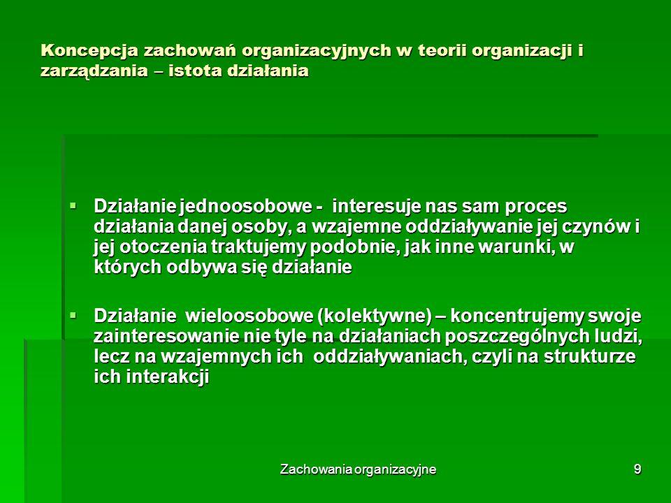 Zachowania organizacyjne10 Koncepcja zachowań organizacyjnych w teorii organizacji i zarządzania – istota działania Działanie wieloosobowe – stopnie kolektywności: Działanie wieloosobowe – stopnie kolektywności: Wspólne decyzje – resztę wykonuje każdy sam Wspólne decyzje – resztę wykonuje każdy sam Decyzje w sprawie kierunku i podziału – resztę wykonuje każdy sam Decyzje w sprawie kierunku i podziału – resztę wykonuje każdy sam Decyzje w sprawie kierunku i podziału – wzajemna pomoc na żądanie członka kolektywu Decyzje w sprawie kierunku i podziału – wzajemna pomoc na żądanie członka kolektywu Decyzje w sprawie kierunku i podziału – periodyczna wspólna akceptacja pracy poszczególnych członków, wspólne poprawki, uzupełnienia Decyzje w sprawie kierunku i podziału – periodyczna wspólna akceptacja pracy poszczególnych członków, wspólne poprawki, uzupełnienia Decyzje w sprawie kierunku i podziału – kolektyw stale, bieżąco uzgadnia Decyzje w sprawie kierunku i podziału – kolektyw stale, bieżąco uzgadnia