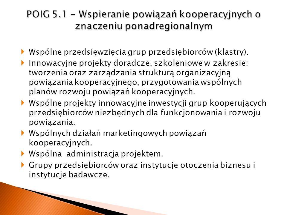 Wspólne przedsięwzięcia grup przedsiębiorców (klastry). Innowacyjne projekty doradcze, szkoleniowe w zakresie: tworzenia oraz zarządzania strukturą or