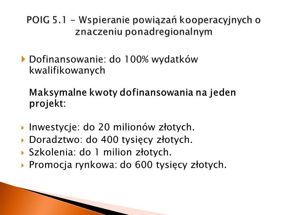Dofinansowanie: do 100% wydatków kwalifikowanych Maksymalne kwoty dofinansowania na jeden projekt: Inwestycje: do 20 milionów złotych. Doradztwo: do 4