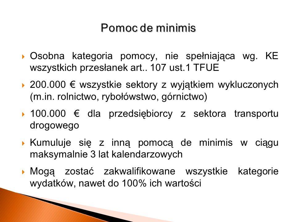Osobna kategoria pomocy, nie spełniająca wg. KE wszystkich przesłanek art.. 107 ust.1 TFUE 200.000 wszystkie sektory z wyjątkiem wykluczonych (m.in. r